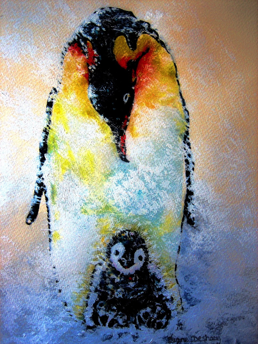 Male Emperor Penguin with Chick - adult art classes